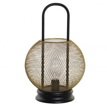 LED-lamp Lantarn Mesh - Goud - Werkt op batterijen (incl. lamp) - H31,5 cm