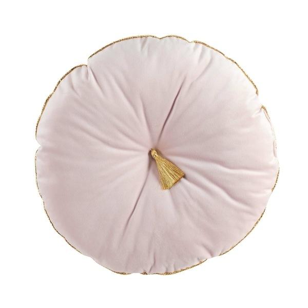 Velvet Kussen Bloomy Rond Roze