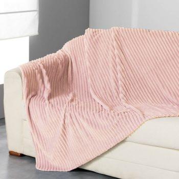 Flanellen fleece plaid Line Roze - XL 180 x 230 cm