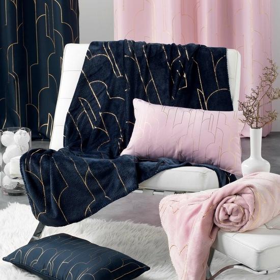 Flanellen fleece plaid Piping Blauw - L 125 x 150 cm