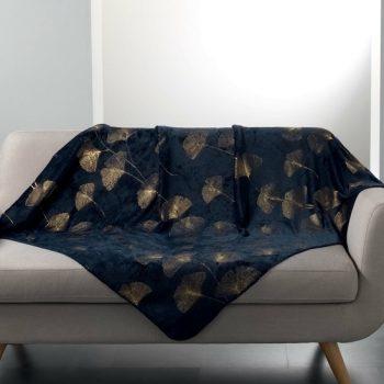Flanellen fleece plaid Bloom Blauw - 125 x 150 cm