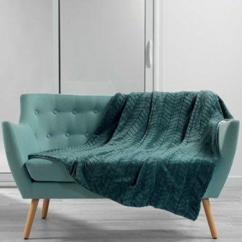 Flanellen fleece plaid Art Deco Petrol Blauw - Dubbel gevoerd 150 x 125 cm