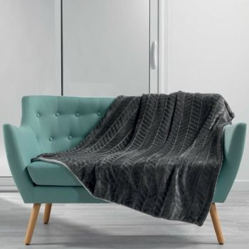 Flanellen fleece plaid Art Deco Grijs - Dubbel gevoerd 150 x 125 cm