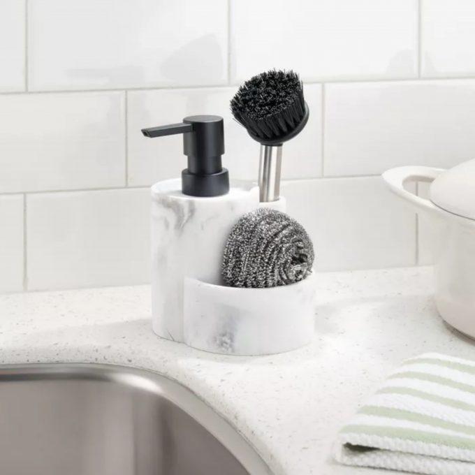 Keramische Zeep pompje/dispenser Marble met vakjes - Wit /Zwart