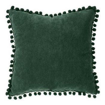 Velvet Kussen Pompon Tijm Groen - 40 x 40 cm (incl. vulling)