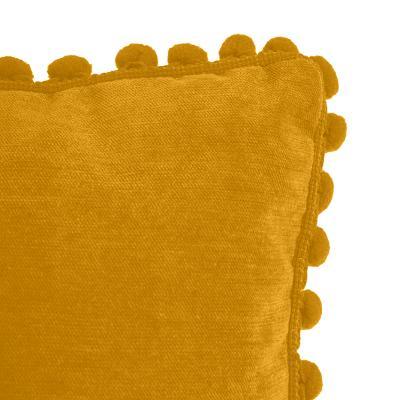 Velvet Kussen Pompon Oker Geel - 40 x 40 cm (incl. vulling)