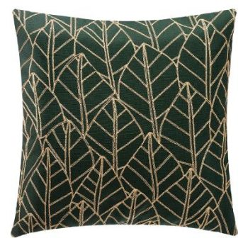 Kussen Leaf - Groen/Goud - 40 x 40 cm (incl. vulling)