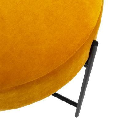 Velvet Poef/Voet bankje Oker Geel met Zwarte Onderstel - Ø 47 x H 45 cm