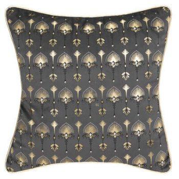 Sierkussen Velvet Pauw met Gouden Bies - Grijs - Goud - 40 x 40 cm (incl. vulling)