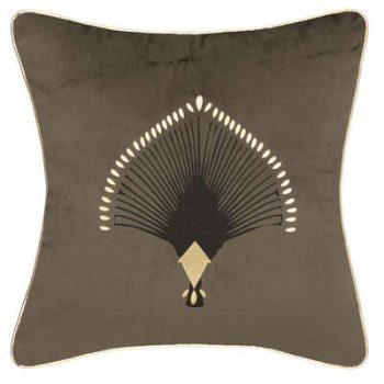 Sierkussen Velvet Pauw met Gouden Bies - Khaki - Goud - 40 x 40 cm (incl. vulling)