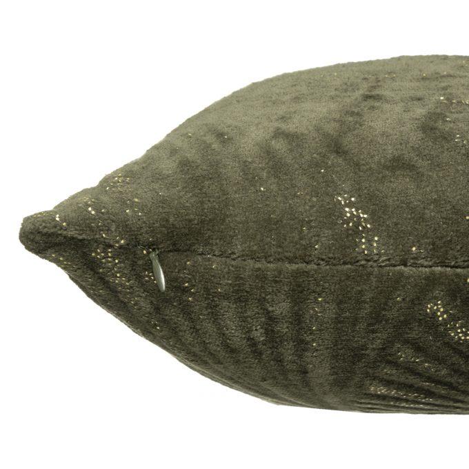 Sierkussen Velvet Leafs - Khaki Groen - Goud - 40 x 40 cm (incl. vulling)