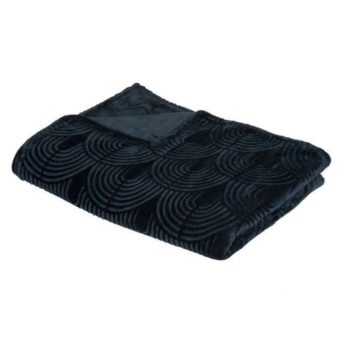 Flanellen fleece plaid Bloom Marine Blauw - XL 220 x 240 cm
