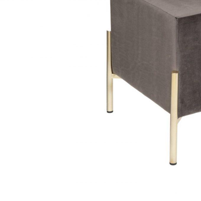Velvet Poef Cubic Donker Grijs met Goudkleurige Onderstel - H 40 cm